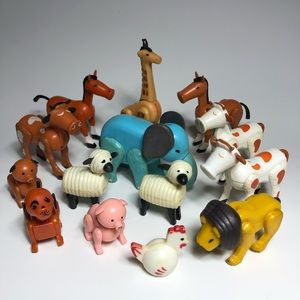 Vintage 60's / 70's Fisher Price Little People Animal Assortment